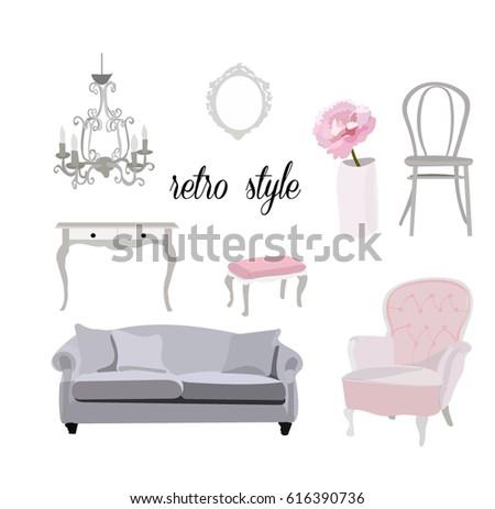 Retro Vintage Furniture Collection.feminine Romantic Interior Design Style.  Sofa, Chair, Dresser