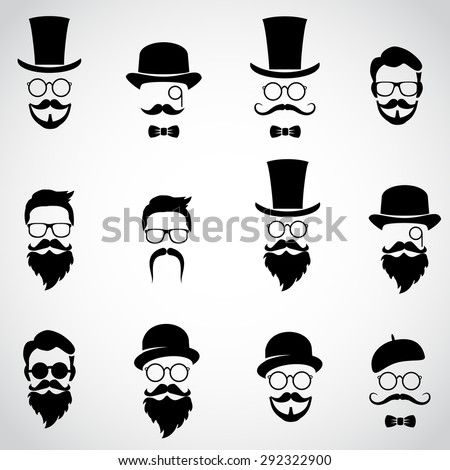 Retro, vintage gentleman set. Collection of diverse male faces. Vector art. - stock vector