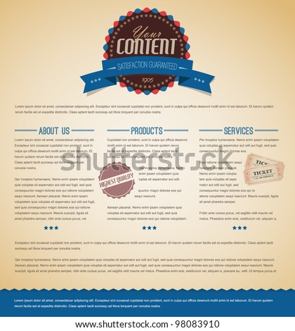 Retro vintage grunge web page template - blue version