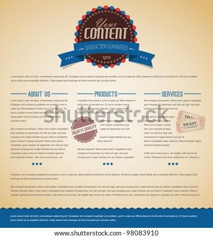 Retro vintage grunge web page template - blue version - stock vector