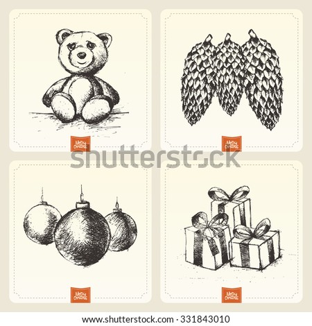 Retro Vintage Hand Drawn Merry Christmas Background  - stock vector