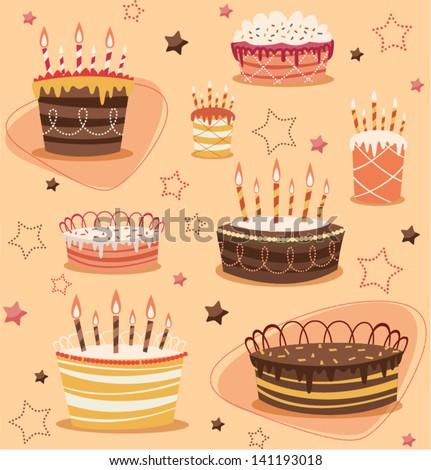 Retro vintage happy birthday pattern - stock vector