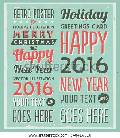 Retro Vintage Happy New Year Background for Greeting Card, Poster, Label and Other Decoration with Typographic Elements  - stock vector
