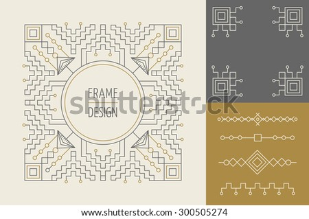 Retro vintage hipster set of line design monogram frames and borders in geometric moder style. Ideal for greeting card, brand design and print poster. EPS10 vector file. - stock vector