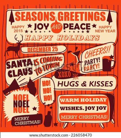 Retro Vintage Holiday Poster - stock vector
