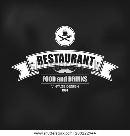 Retro vintage insignia, logotype for restaurant, label or badge vector design template - stock vector
