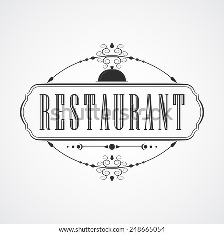 Retro Vintage Insignia or Logotype Vector design element, business sign restaurant template. - stock vector