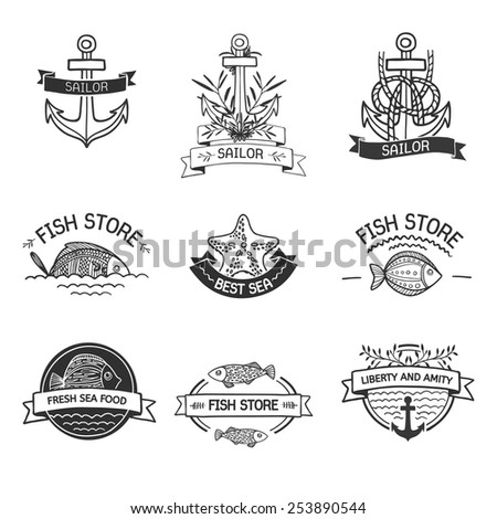 Retro Vintage Insignias or Logotypes set with with fish, sea elements and ribbons. Vector design elements, business signs, logos, identity, labels, badges and objects. Hand drawn style. Vector - stock vector
