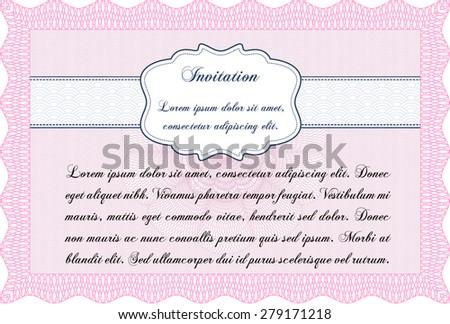 Retro vintage invitation. Complex design. With guilloche pattern and background. Border, frame. - stock vector