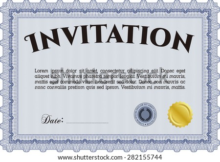 Retro vintage invitation. Cordial design. Customizable, Easy to edit and change colors.Complex background.  - stock vector