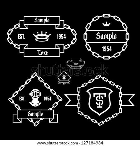retro vintage label with chain, crown, helmet, shield - stock vector