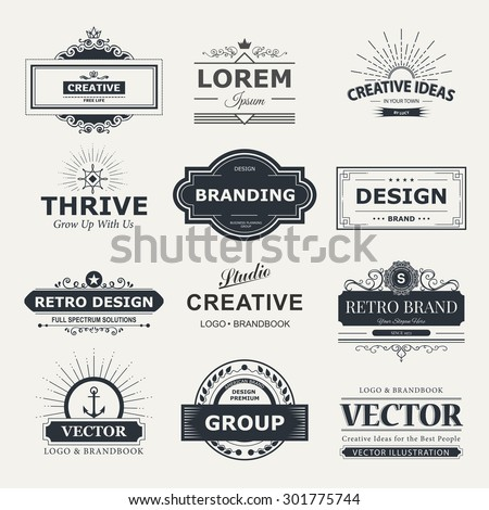 Retro Vintage labels Insignias or Logo set. Vector design elements business signs, branding, badges, objects, identity, labels. - stock vector