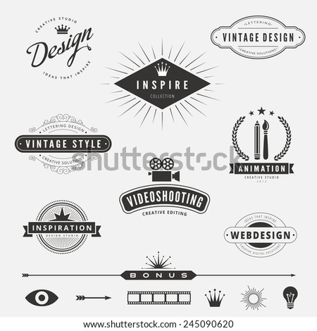 Retro Vintage Labels Logo design vector lettering inspiration template set.  Old style elements, business signs, logos, label, badges and symbols. Design Studio Logotype collection pack - stock vector