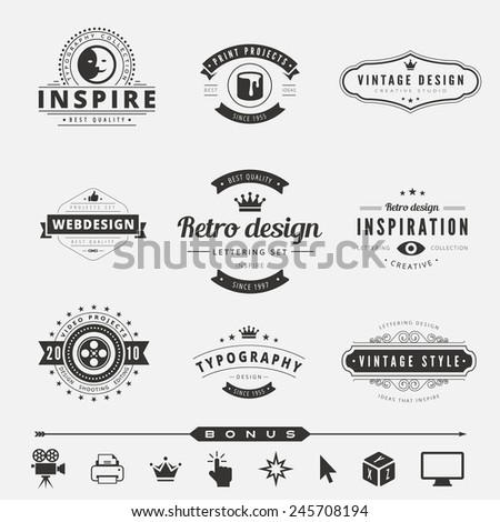 Retro Vintage Labels Logo design vector typography inspiration template set.  Old style elements, business signs, logos, label, badges and symbols. Design Studio Logotype collection - stock vector