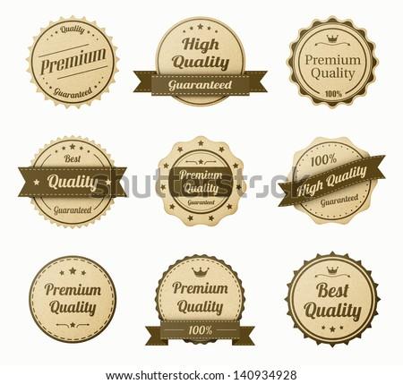 retro vintage labels set. realistic paper texture. eps10 vector illustration - stock vector