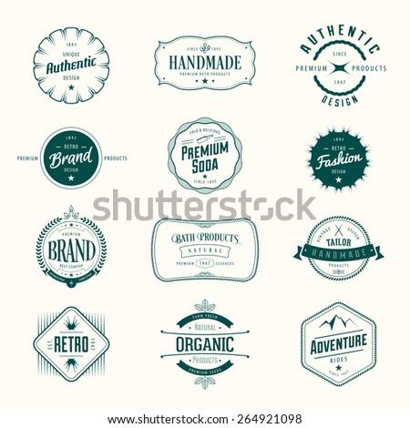 Retro vintage labels set. Vector insignias, badges, signs, t-shirt, brand design. - stock vector