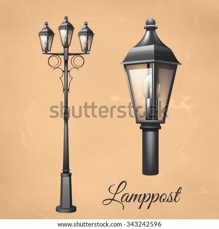 Retro vintage lamp post set electricity vector de stock343242596 retro vintage lamp post set with electricity lantern isolated vector illustration aloadofball Image collections
