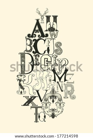 Retro vintage letters on white background - stock vector
