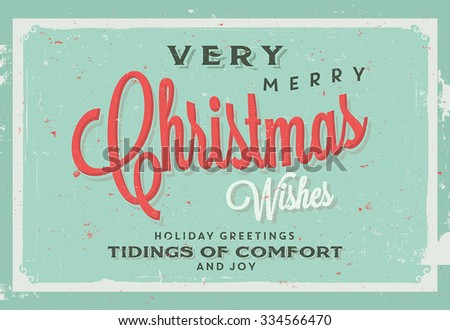 Retro Vintage Merry Christmas Background for Greeting Card, Poster, Label and Other Decoration Surface with Typographic Elements
