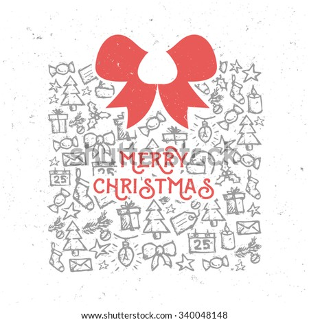 Retro Vintage Merry Christmas Background with Hand Drawn Christmas Elements  - stock vector