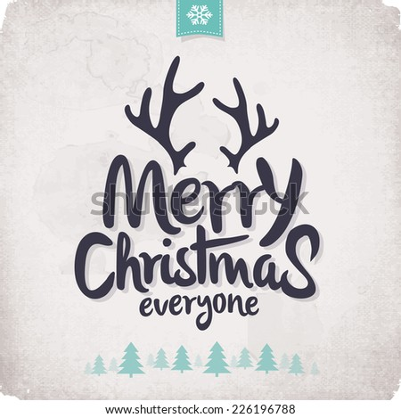 Retro Vintage Merry Christmas Greeting Card with Typography  - stock vector