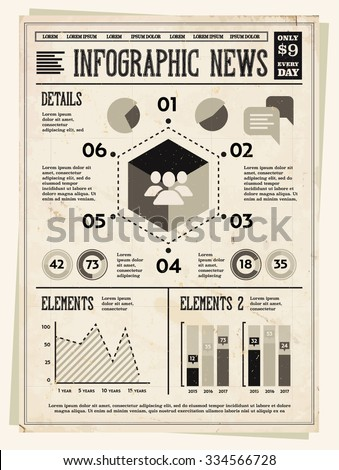 Retro Vintage Newspaper with Set of Infographic Elements for Your Documents and Reports  - stock vector