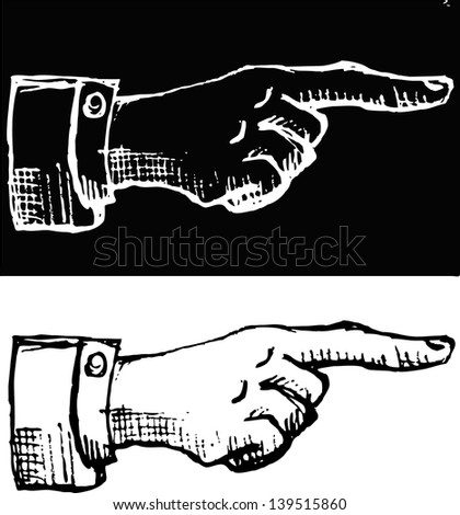 retro Vintage pointing hand drawing - vector illustration - stock vector