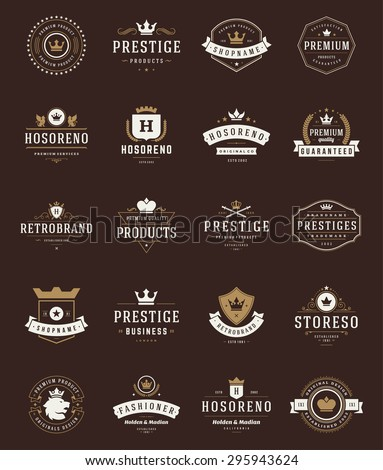Retro Vintage Premium Quality Labels and Crowns set. Vector design elements, signs, logos, identity, labels, badges, logotypes, stickers and stamps. Satisfaction, Guaranteed, Highest, Best choice. - stock vector