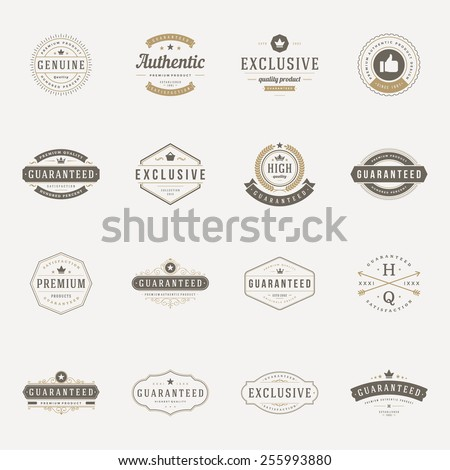 Retro Vintage Premium Quality Labels set. Vector design elements, signs, logos, identity, labels, badges, logotypes, stickers and stamps. Satisfaction, Guaranteed, Highest, Best choice and other text. - stock vector