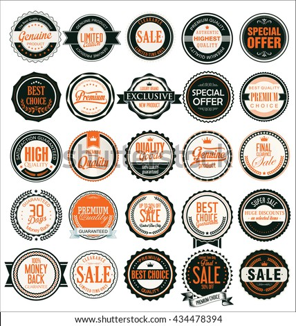 Retro vintage quality badges and labels collection - stock vector