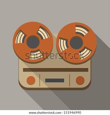 Retro vintage reel to reel tape recorder icon - stock vector