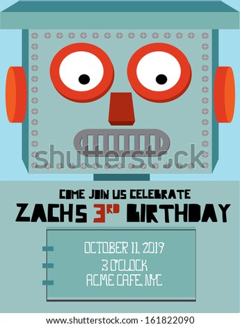 Retrovintage robot birthday invitation card template stock vector retrovintage robot birthday invitation card template vectorillustration stopboris Choice Image