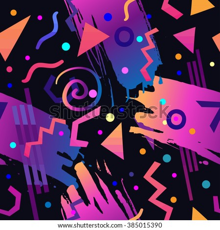 Retro vintage 80s or 90s fashion style abstract seamless pattern background. Good for textile fabric design, wrapping paper and website wallpapers. Vector illustration.  - stock vector