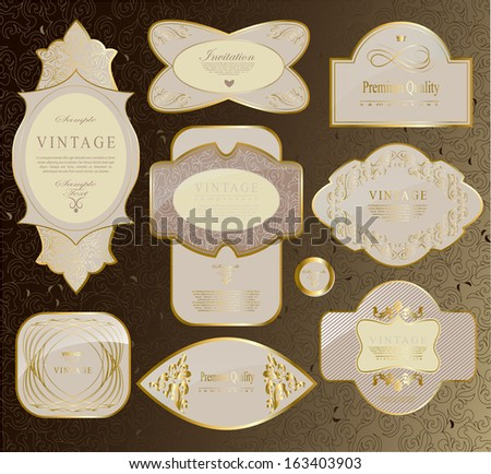 retro vintage set of white gold label and ribbon/ vector set