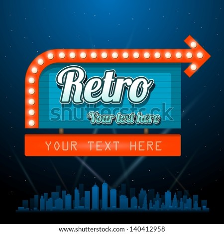 Retro vintage sign with copyspace - stock vector