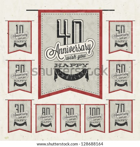 Retro Vintage style anniversary greeting card collection with calligraphic design. Template of anniversary, jubilee or birthday card. Hand Drawn calligraphic and typographic design. - stock vector