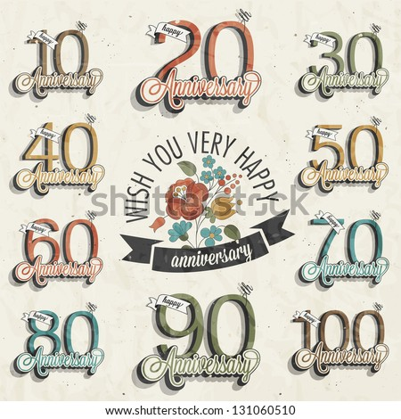 Retro Vintage style anniversary greeting card collection with calligraphic design. Template of anniversary, jubilee or birthday card. Hand lettering calligraphic and typographic design. Vector Flowers - stock vector