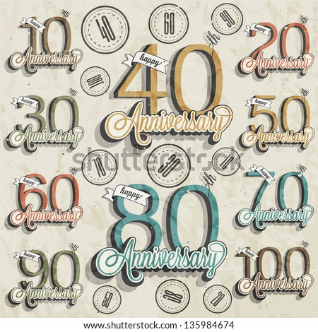 Retro Vintage style anniversary greeting card collection with calligraphic design. Template of anniversary, jubilee or birthday card. Hand lettering calligraphic and typographic design. - stock vector