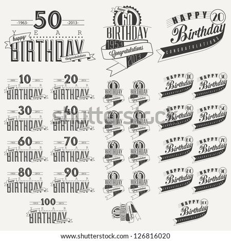 Retro Vintage style Birthday greeting card collection in calligraphic design. Vintage calligraphic and typographic style Happy Birthday hand lettering collection. Vector - stock vector