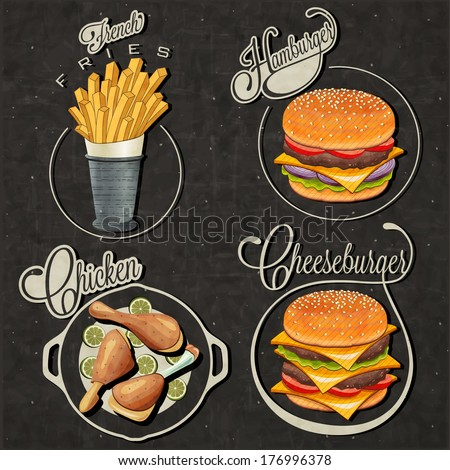 Retro vintage style fast food designs. Set of Calligraphic titles and symbols for foods. Hand lettering style. French Fries, Hamburger, Cheeseburger and Drumstick realistic illustrations.  - stock vector