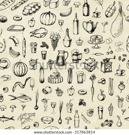 Retro vintage style. Hand drawn elements of food. Seamless background. Vector illustration. - stock vector