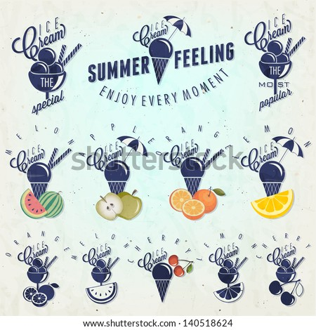 Retro vintage style Ice Cream design. Set of Calligraphic titles and symbols for Ice Cream type. Hand lettering style. Apple, Melon, Lemon, Orange and Cherry illustrations. Gelato - stock vector