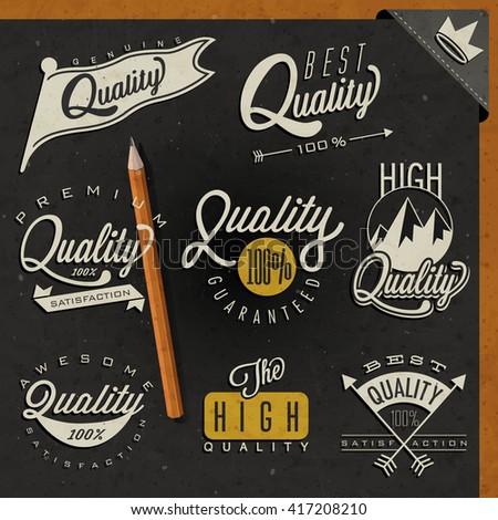 Retro vintage style premium quality labels collection. Set of premium quality badges. - stock vector
