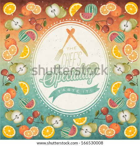 Retro vintage style restaurant menu background designs.  Orange, Melon, Apple, Cherry and Lemon illustrations. Ice Cream. Typographic. Fast food. Vector. Menu pattern with Fruits. Collection  - stock vector