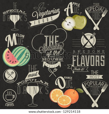 Retro vintage style restaurant menu designs. Set of Calligraphic titles and symbols for restaurant. Hand lettering restaurant menu design. Orange, melon and apple illustrations.  Fast Food. Vector  - stock vector