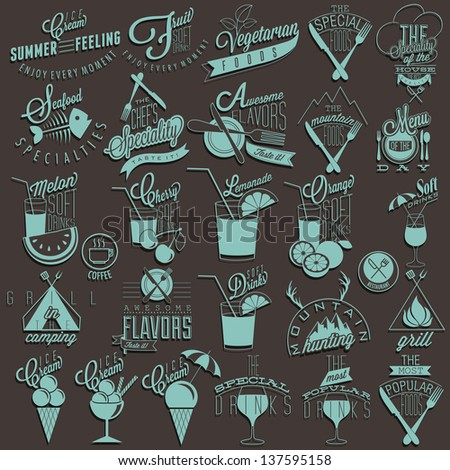 Retro vintage style restaurant menu designs. Set of Calligraphic titles and symbols. Hand lettering style. Orange, Melon, Apple and Cherry illustrations. Ice Cream. Typographic. Fast food. Vector - stock vector