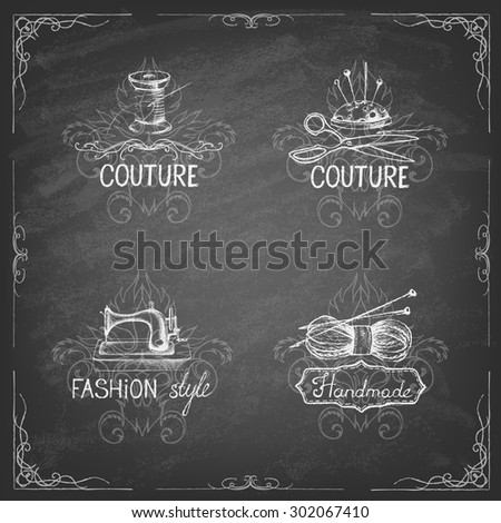 Retro vintage style. Set of tailor labels, emblems and design elements on the blackboard. Vector illustration. Logo. - stock vector