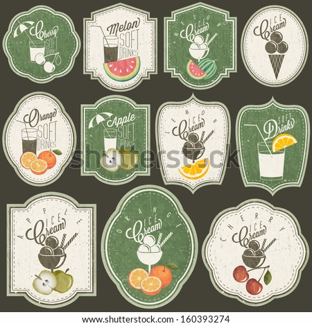 Retro vintage style Soft Drinks and Ice Creams design. Set of Calligraphic titles and symbols for Fruit design. Hand-drawn style. Orange, Melon, Apple and Cherry illustrations. Fruit Vintage Labels - stock vector