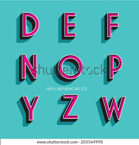 retro vintage style vector relieved alphabet with shadow and stroke - stock vector