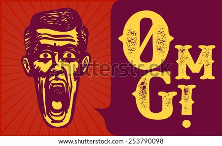 Retro vintage surprised man stunned or amazed, jaw drop, omg! - stock vector